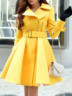 Yellow V neck Long sleeve Zipper Wool Blend Trench Coat