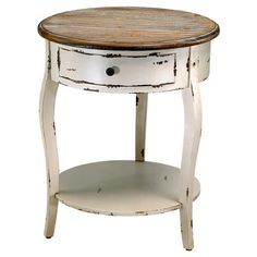 Olevi French Rustic Ivory Round Wood End Table   Kathy Kuo Home