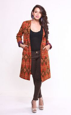 Buy online Jackets Dresses - Cotton ikat jacket (orange & brown) from Frinky Town Indian Attire, Indian Wear, Indian Outfits, African Wear, Look Fashion, Indian Fashion, Fashion Outfits, Kurta Designs, Blouse Designs