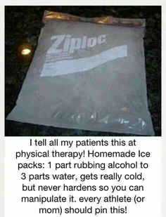 At home ice pack. All mom's and athletes should know how to make this. Sports biking swimming football basketball tennis soccer baseball riding track cheerleading lacrosse ice hockey field hockey skiing