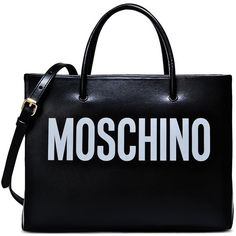 Moschino Bags ($620) ❤ liked on Polyvore featuring bags, handbags, moschino bags, black handbags, moschino handbag, moschino and black bag