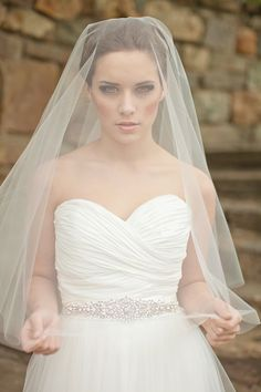 Liveinu Womens Wedding Bridal Veil with Handmade Sewn Edge