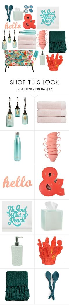 """""""happy~home"""" by mpsav ❤ liked on Polyvore featuring interior, interiors, interior design, home, home decor, interior decorating, Christy, S'well, PBteen and Martha Stewart"""