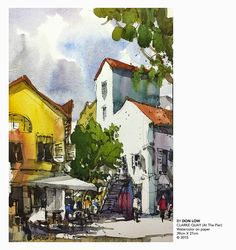 DON LOW: Plein air watercolor painting at Clarke Quay