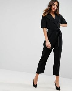 2f8d57d0dd7 ASOS Wrap Jumpsuit with Self Belt Tailored Jumpsuit