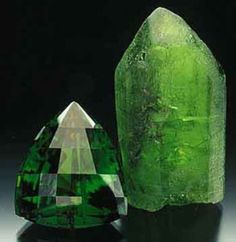 Chrysolite, also known as Peridot by gemologists when in gem quality; derived from the (ultramafic) mineral Olivine. Olivine in turn is made up of a solid solution of two other minerals, Fosterite (Mg and Fayalite (Fe Cool Rocks, Beautiful Rocks, Minerals And Gemstones, Rocks And Minerals, Mineral Stone, Rocks And Gems, Healing Stones, Crystal Healing, Stones And Crystals