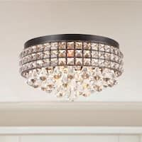 Jolie Iron Shade Crystal Flush Mount Chandelier