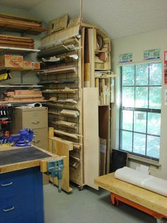 Woodshop Storage Ideas | My plywood storage bin and my roll around assembly table with screw ...