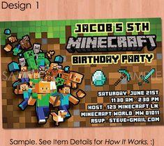 Minecraft Birthday Invitations Minecraft D Box Birthday Party - Minecraft birthday invitation card template