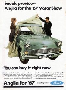 Vintage Motorcycles Ford Anglia advert, 1967 was its final year of production. Luxury Sports Cars, Ford Motor Company, Vintage Advertisements, Vintage Ads, Vintage Posters, Vintage Trucks, Vintage Stuff, Vintage Shoes, Vintage Dress