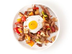 Pork Hash : Sauté onions and peppers until soft, add diced potatoes and cook until tender. Stir in the pork and serve with eggs.
