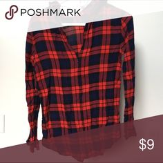 Zip up flannel Zip only goes to chest. Lightweight material. Forever 21 Tops Tees - Long Sleeve