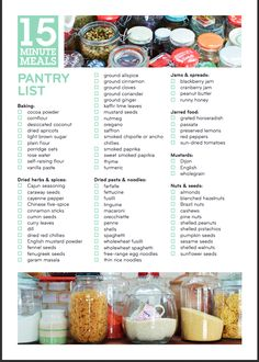 Pantry list from Jamie Oliver's 15 Minute Meals Book http://www.jamieoliver.com/_beta/books-and-media/pdfs/pantry_list.pdf