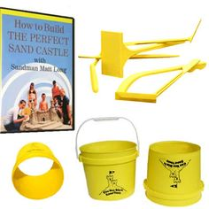 Can You Dig It Sand Tools Super Deluxe Sand Sculpting Kit features an instructional DVD, bucket, form, and sand tools