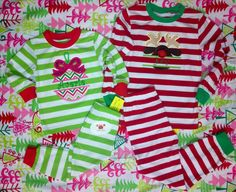 2012 Christmas Pj Striped RED 3t only Reduced by HappyCrabBoutique