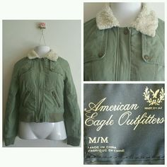 American Eagle Womens Juniors Coat Jacket Green cotton Size M Medium faux fur in Clothing, Shoes & Accessories, Women's Clothing, Coats & Jackets | eBay