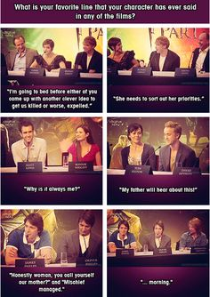 The cast of Harry Potter discussing their favorite lines :) Oh Fred.... or was that George... If you don't remember that line its when he walks in on Harry and Ginny kissing in the seventh, part one :)