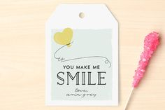 You make me smile Classroom Valentine's Cards by JeAnna Casper at minted.com #Minted #Valentines