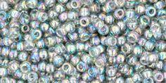 Toho 11/0 Round Japanese Seed Bead, TR11-176, Transparent AB Black Diamond