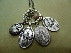 Land Air Sea Traveller holy medal necklace. catholic saints. Our Lady of Loreto, St Christopher, St Joseph of Cupertino, follow your dreams by ChillyPumpkin on Etsy