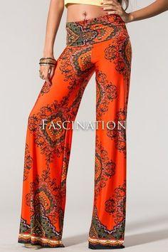 Unique #Citrus Printed #Palazzo Pants with Folded Waist-#Fabulous #Fall #Colors  #PLUSSIZE