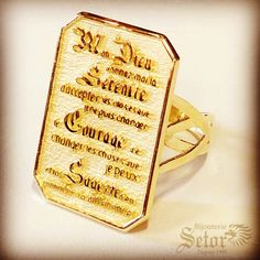 A beautiful Serenity prayer ring ✨ Custom made by Bijouterie Setor ✨ On sale online and in store ✨ Gold Diamond Watches, Serenity Prayer, Bulova, Beautiful Gift Boxes, Stainless Steel Case, Gold Pendant, Gold Chains, Instagram Feed, Birthstones