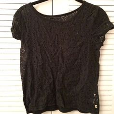 Navy Lace Hollister Top Fun lacy shirt, a dark shade of navy. Gently worn Hollister Tops Tees - Short Sleeve