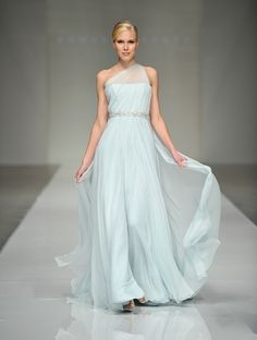 Romona Keveza wedding gown in a pale blue.