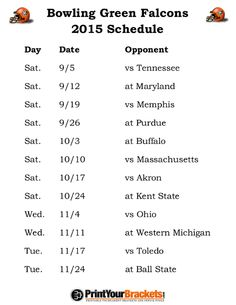 Printable Bowling Green Falcons Football Schedule 2015