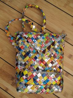 Recycled plastic bag Crafts | Mexican crafts .. bag made from recycled plastic packages made by ...