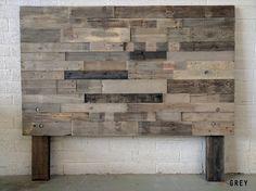 Reclaimed recycled wood salvaged grey headboard head by KaseCustom