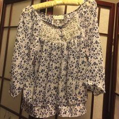 Abercrombie & Fitch blouse in white and blue Almost new worn only few times. 100% polyester lovely top. Medium. Blue flowers on white background very lovely top Abercrombie & Fitch Tops Blouses