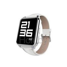 Full View HD LCD Screen Heart Rate Sensor Pedometer Remote-control Smartwatch with Leather Brand for Smartphone - Silver+ White