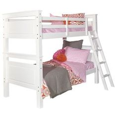 This Twin Bunk Bed is stylish, yet traditional to easily fit in any youth room. The bunk bed is made of pine wood and offers extra room for guests or siblings. An inset beveled panel detail pairs #extra #guests #offers