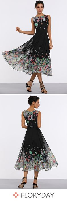 Floral sleeveless midi X-line dress, fashion dress, gorgeous.