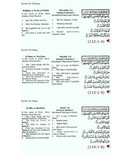 Short Surah's for prayer