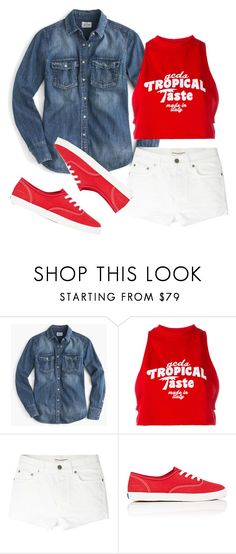 """If only I was Bold enough to wear White Shorts"" by mintsprits ❤ liked on Polyvore featuring J.Crew, GCDS, Yves Saint Laurent and Keds"