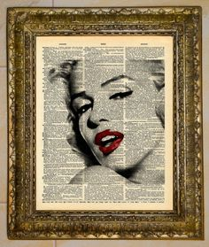 Marilyn Monroe Actress Dictionary Page Art Print Book Page Picture Playful