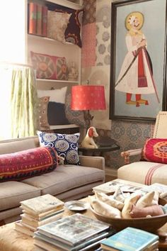 I assume this is Peter Dunham's showroom in LA - Great mix of colors, textures, patterns.  He's genius at it.