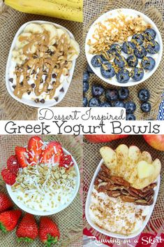 Dessert Inspired Greek Yogurt Bowls - ideas for breakfast yogurt bowl recipes with fruit and granola plus other toppings. Flavors like Chunky Monkey with banana, Strawberry Shortcake, Blueberry Muffin and Apple Pie. High protein, low sugar and low carb with vanilla yogurt. / Running in a Skirt #Ad @walmart @twogoodyogurt #yogurtbowls #healthyliving #lowcarb #lowsugar Greek Yogurt Dessert, Greek Yogurt Breakfast, Breakfast Bowls, Breakfast Casserole, Breakfast Dessert, Breakfast Ideas, Healthy Yogurt, Healthy Low Calorie Breakfast, Yummy Yogurt