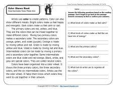 Color Shows Mood | 2nd Grade Reading Comprehension Worksheets