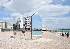 A Mirrored Hut on a Beach