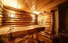 Традиционные сухого жара сауны в избе с откидной скамейке