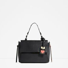 Image 2 of LEATHER CITY BAG WITH INTERCHANGEABLE HANDLE from Zara