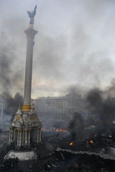 Clashes in Independence Square in Kyiv, Ukraine early on 19th Feb. 2014.