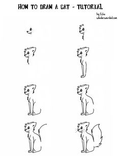 How to Draw a Cartoon Cat at www.wonderweirded-creatures.com/how-to-draw-a-cat-cartoon.html , Echos; Free Online Drawing Lessons on How to Draw Cartoon Creatures, free video lesson  too