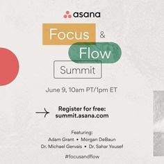 """Asana on Instagram: """"In a distracted world, finding #focusandflow is essential. On June 9, join us at a special virtual event to get tips from today's leading…"""" Experiential Marketing, Asana, June, Essentials, World, Tips, Instagram, The World, Counseling"""