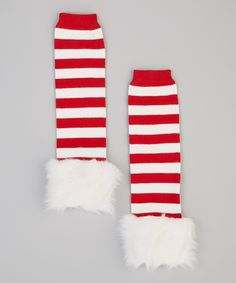 Red & White Stripe Leg Warmers | Daily deals for moms, babies and kids Christmas Clothes Santa Outfit