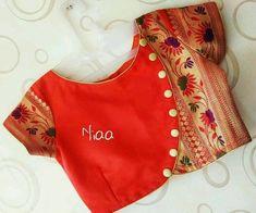 Saree and blouses Blouse Blouse designs indian blouses Saree Indian Blouse Designs, Blouse Back Neck Designs, Simple Blouse Designs, Stylish Blouse Design, Latest Blouse Designs, Latest Blouse Patterns, Sari Design, Designer Kurtis, Kurta Neck Design