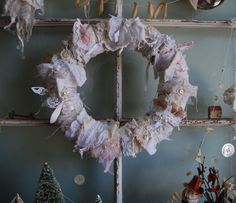 Vintage Lace & Burlap Wreath by FunkyJunkyArt